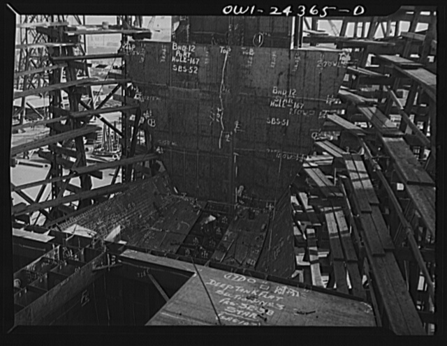 Bethlehem-Fairfield shipyards, Baltimore, Maryland. A collision bulkhead in the background