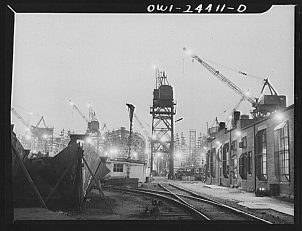 Bethlehem-Fairfield shipyards, Baltimore, Maryland. A general view of the ways