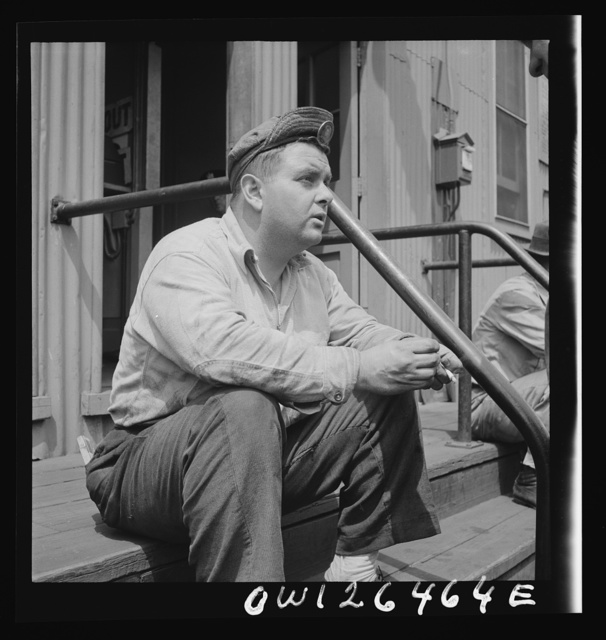 Bethlehem-Fairfield shipyards, Baltimore, Maryland. A shipyard worker