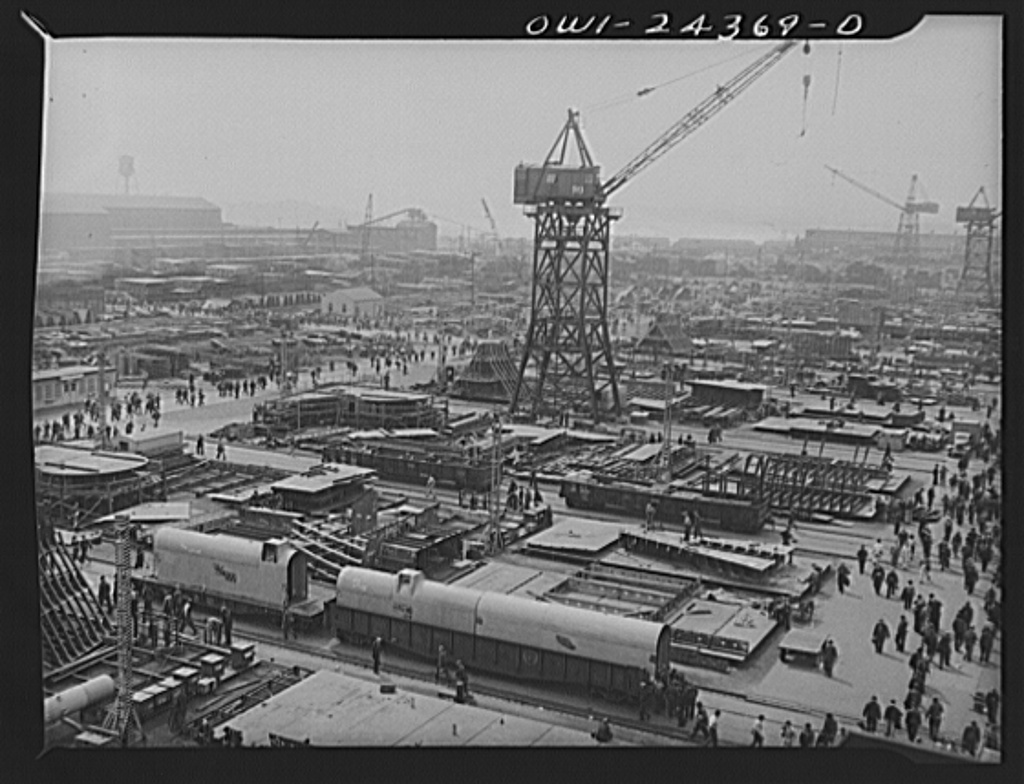 Bethlehem-Fairfield shipyards, Baltimore, Maryland. A view of sub-assembly space at the head of the ways