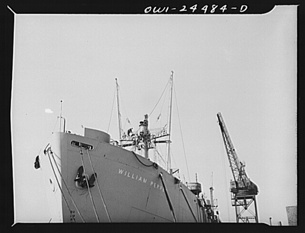 Bethlehem-Fairfield shipyards, Baltimore, Maryland. A view of the forward part of a ship at the outfitting pier