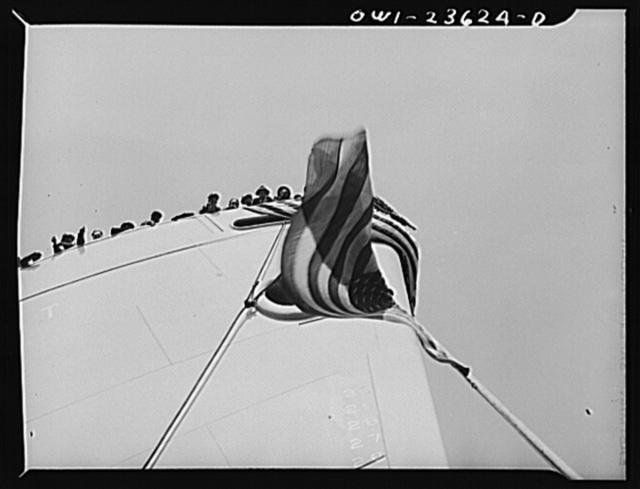 Bethlehem-Fairfield shipyards, Baltimore, Maryland. Bow of a vessel just before the launching ceremony