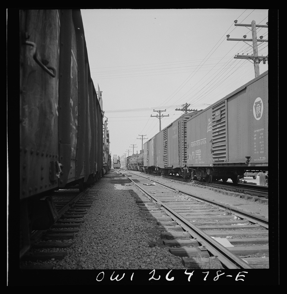 Bethlehem-Fairfield shipyards, Baltimore, Maryland. Box and tank cars