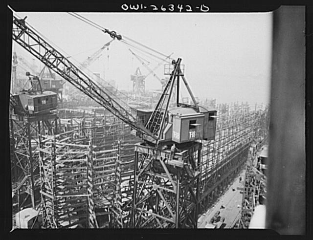 Bethlehem-Fairfield shipyards, Baltimore, Maryland. Crane in front of the shipways
