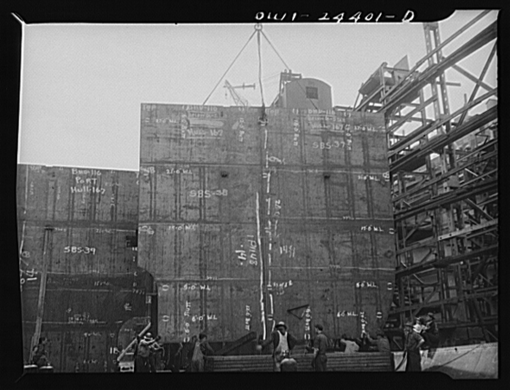 Bethlehem-Fairfield shipyards, Baltimore, Maryland. Erecting a transverse bulkhead