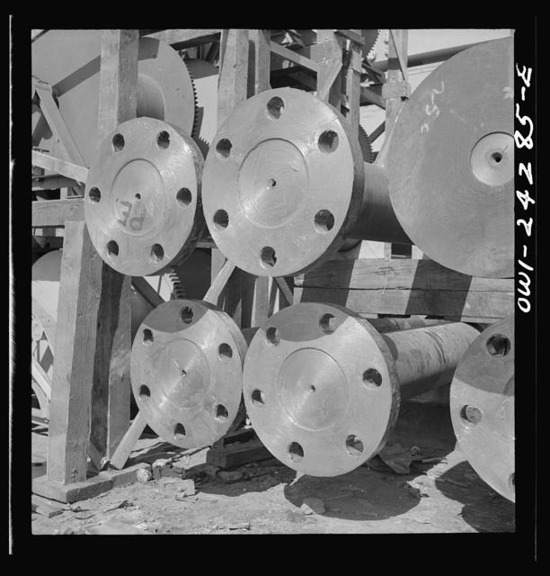 Bethlehem-Fairfield shipyards, Baltimore, Maryland. Flanges of a propeller shaft