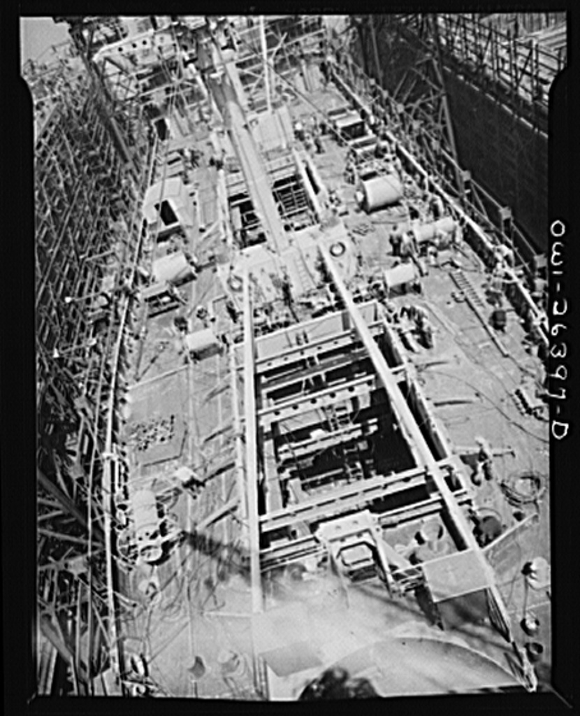 Bethlehem-Fairfield shipyards, Baltimore, Maryland. General view of a ship under construction