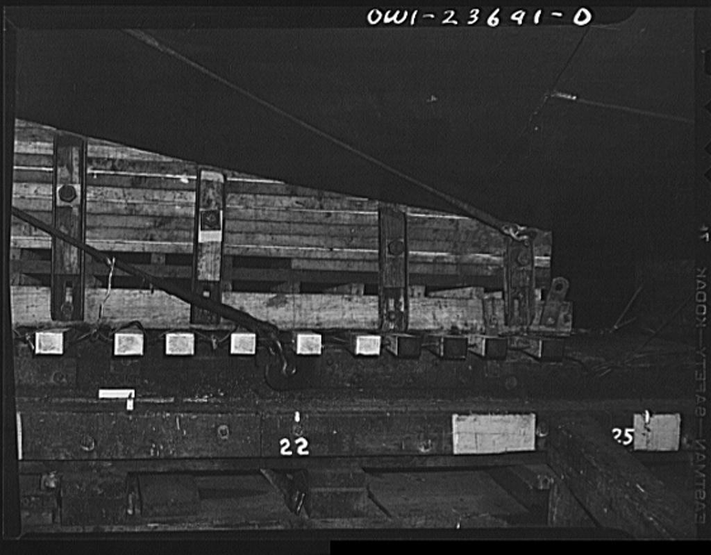 Bethlehem-Fairfield shipyards, Baltimore, Maryland. Launching poppet