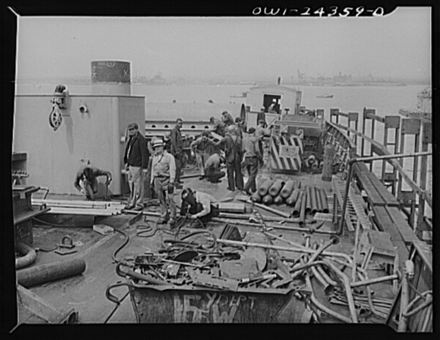 Bethlehem-Fairfield shipyards, Baltimore, Maryland. Looking aft on an upper deck