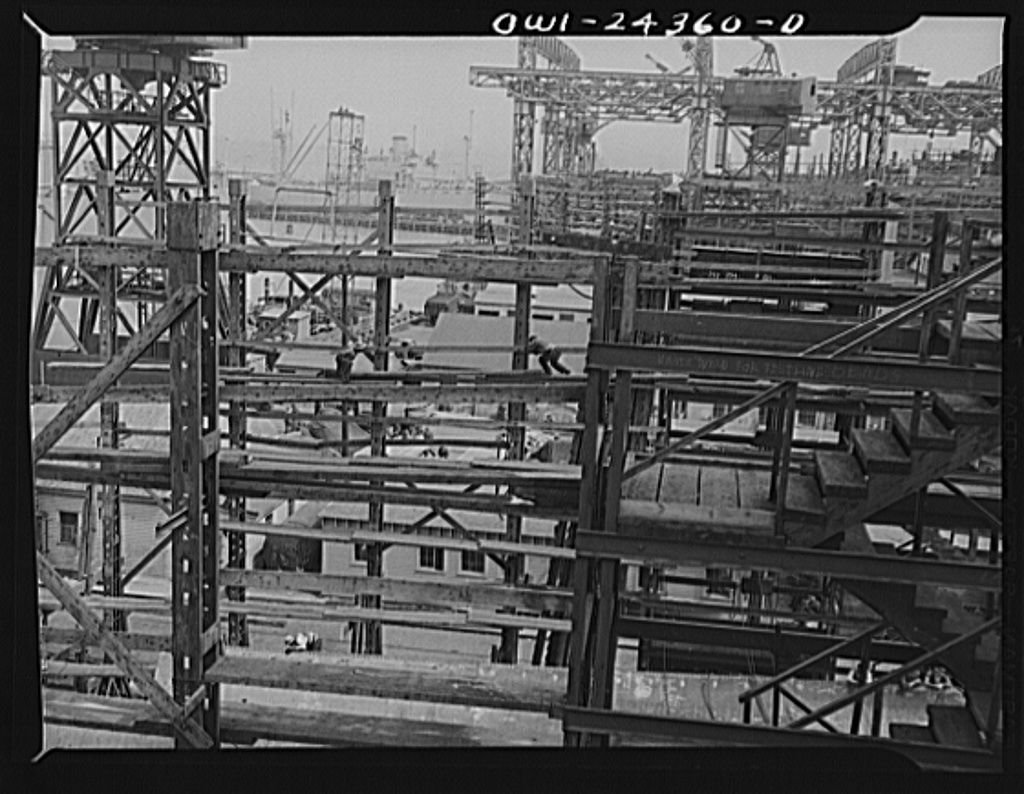 Bethlehem-Fairfield shipyards, Baltimore, Maryland. Looking toward the outfitting piers