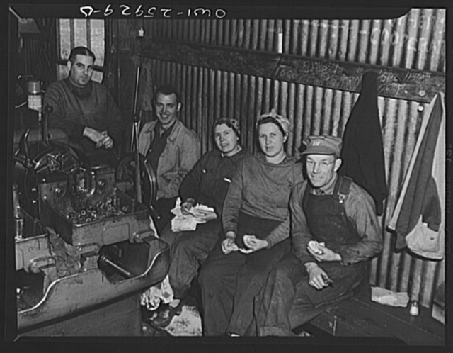 Bethlehem-Fairfield shipyards, Baltimore, Maryland. Lunch hour in the pipe shop