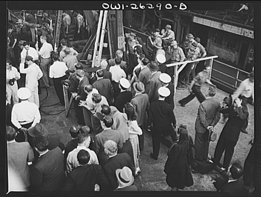 Bethlehem-Fairfield shipyards, Baltimore, Maryland. Observers at the ship launching