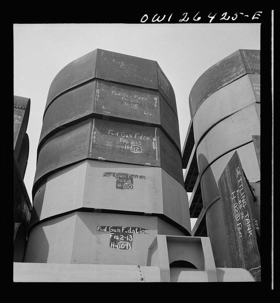 Bethlehem-Fairfield shipyards, Baltimore, Maryland. Part of a forward gun mount