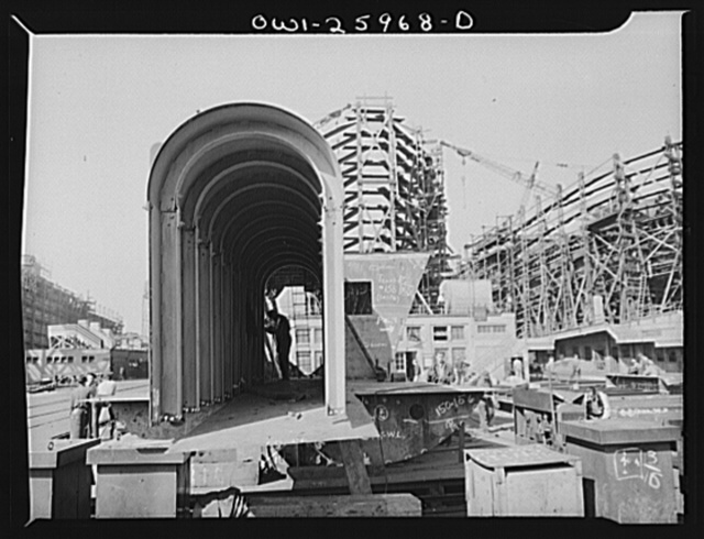 Bethlehem-Fairfield shipyards, Baltimore, Maryland. Part of ship's shaft