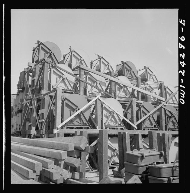 Bethlehem-Fairfield shipyards, Baltimore, Maryland. Reel storage