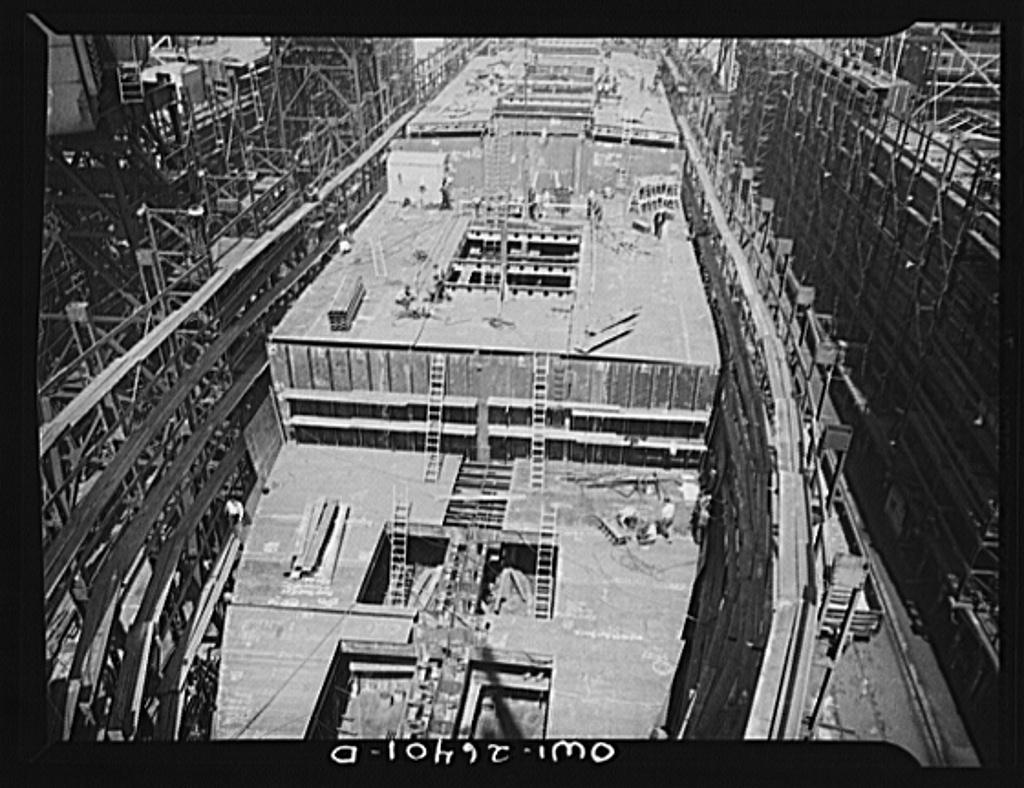 Bethlehem-Fairfield shipyards, Baltimore, Maryland. Ship under construction