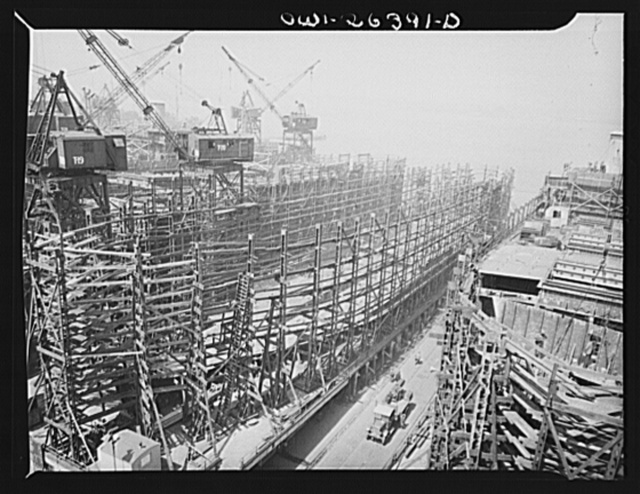 Bethlehem-Fairfield shipyards, Baltimore, Maryland. Side view of a ship scaffold