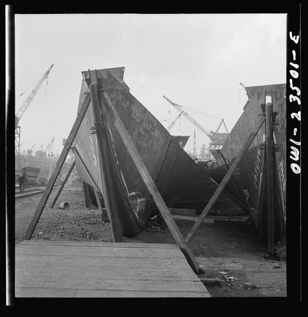 Bethlehem-Fairfield shipyards, Baltimore, Maryland. Stem assemblies in a stockyard