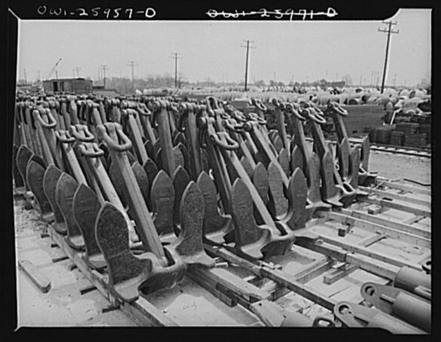 Bethlehem-Fairfield shipyards, Baltimore, Maryland. Stockpile of ships anchors