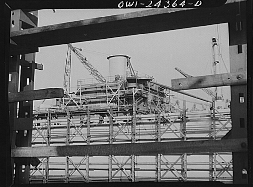 Bethlehem-Fairfield shipyards, Baltimore, Maryland. The starboard side of a midship deck house