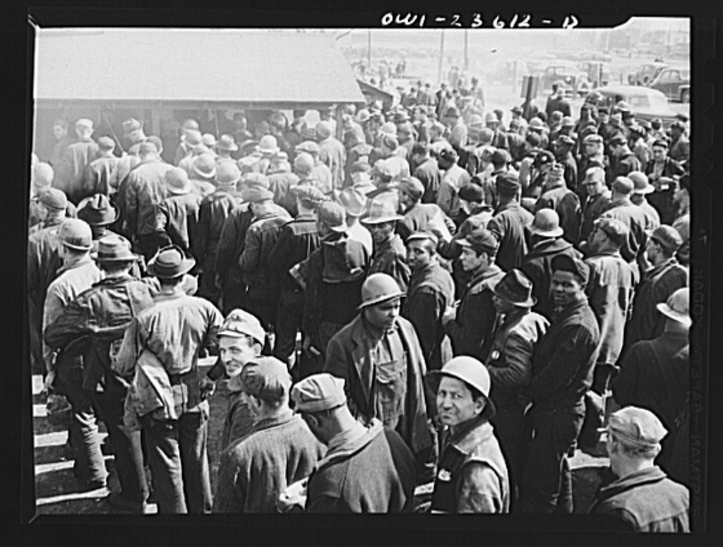 Bethlehem-Fairfield shipyards, Baltimore, Maryland. Workers in line to cash pay checks