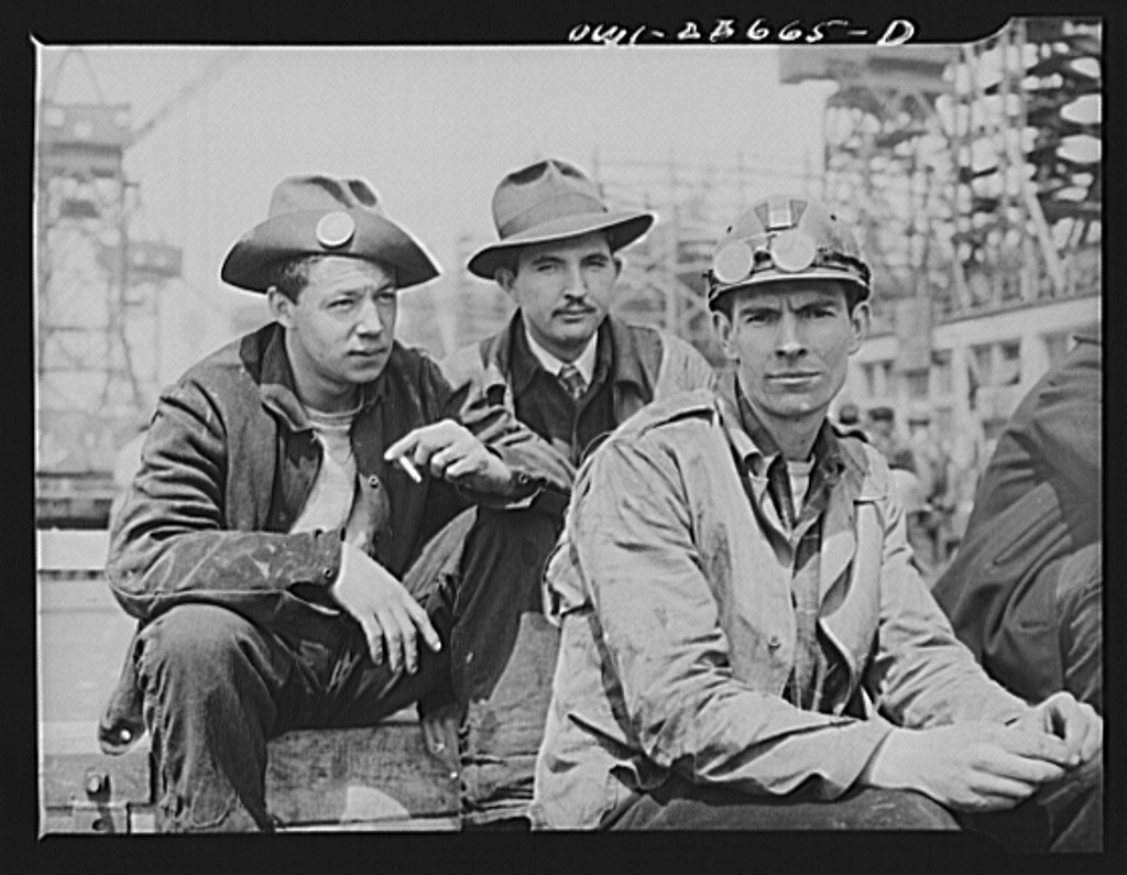Bethlehem-Fairfield shipyards, Baltimore, Maryland. Workers resting during lunch hour