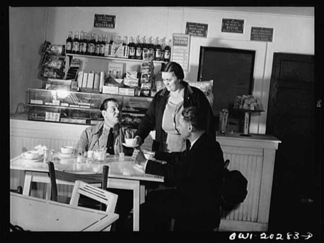 Bob Daugherty and Butch Ryan, truck drivers for Associated Transport Company, having dinner at Mary's Place, ten miles south of Charlottesville, Virginia, on U.S. Highway, Route no. 29