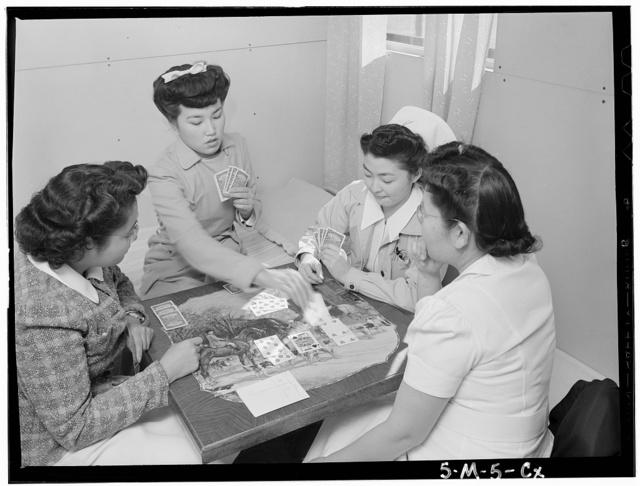 Bridge game, Nurse Aiko Hamaguchi, Nurse Chiye Yamanaki, Miss Catherine Yamaguchi, Miss Kazoko Nagahama, Manzanar Relocation Center, California