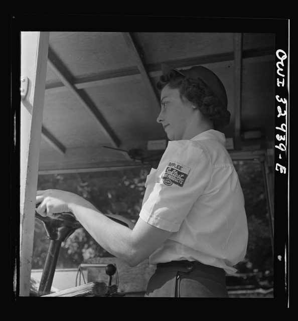 Bryn Mawr, Pennsylvania. Mrs. Helen Joyce, one of the many women now working for the Supplee-Wills-Jones Milk Company. She has one child and her husband is a seaman first class in the U.S. Navy