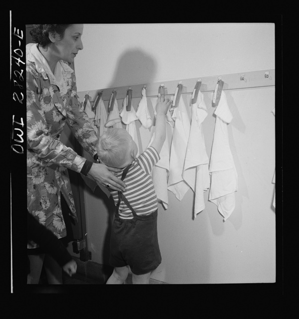 Buffalo, New York. Lakeview nursery school for children of working mothers, operated by the Board of Education at a tuition fee of three dollars weekly. Each child has own comb and towel, washes himself and combs his won hair