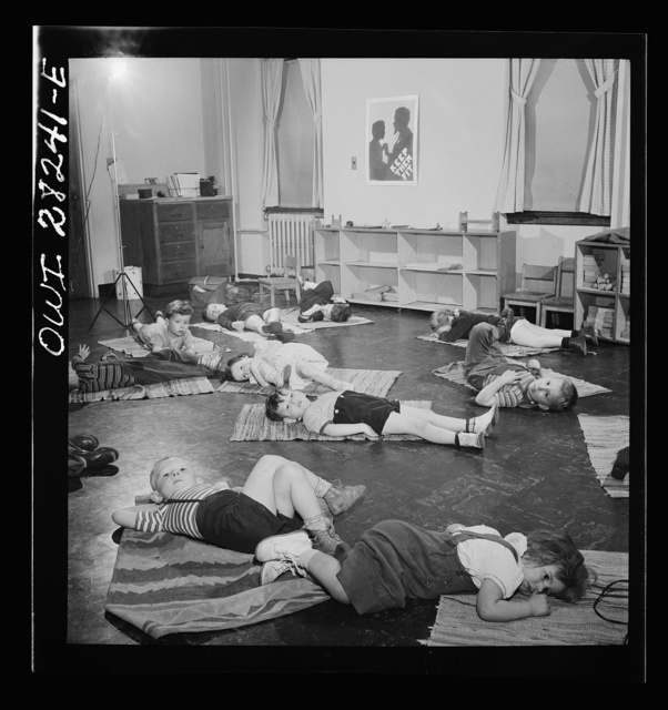 Buffalo, New York. Lakeview nursery school for children of working mothers, operated by the Board of Education at a tuition fee of three dollars weekly. Five-minute rest period on mats before washing up for lunch