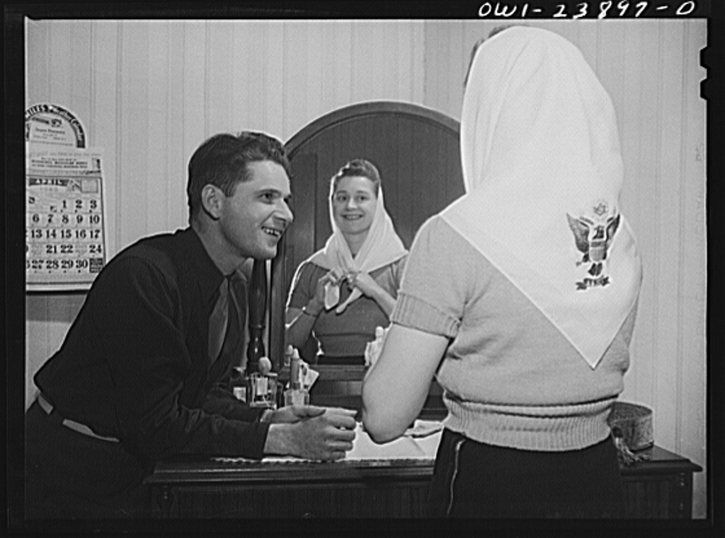 Buffalo, New York. Laura and Frank Czaya, a couple of Polish descent, in the bedroom in the home which they share with Laura's mother, aunt, and brother, in Depew. Frank is home on a ten-day furlough. Laura works in the nearby Symington-Gould plant