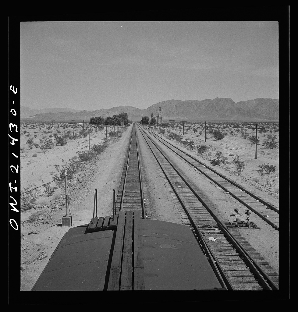 Cadez, California. Leaving on the Atchison, Topeka, and Santa Fe Railroad between Needles and Barstow, California