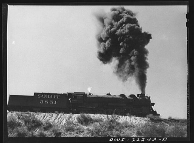Cajon, California. Atchison, Topeka, and Santa Fe Railroad train going up the steep grade from San Bernardino to Summit