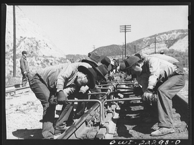 Cajon, California. Group of Indian workers who were employed on a section gang working on the Atchison, Topeka and Santa Fe Railroad tracks