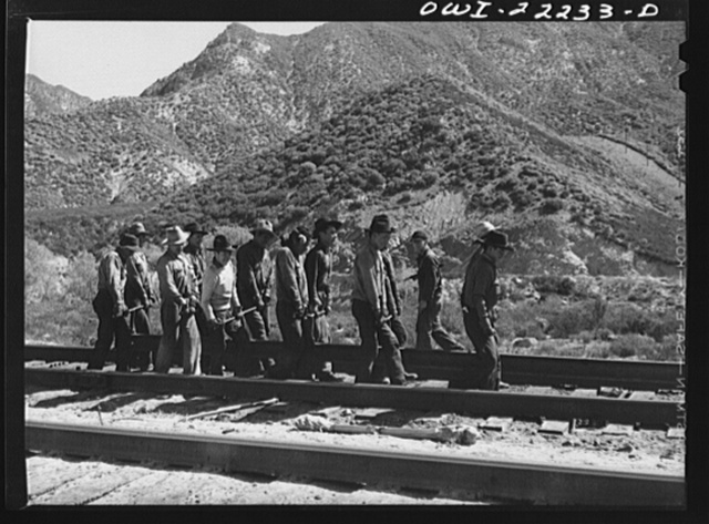 Cajon, California. Indian section gang working on the Atchison, Topeka, and Santa Fe Railroad track