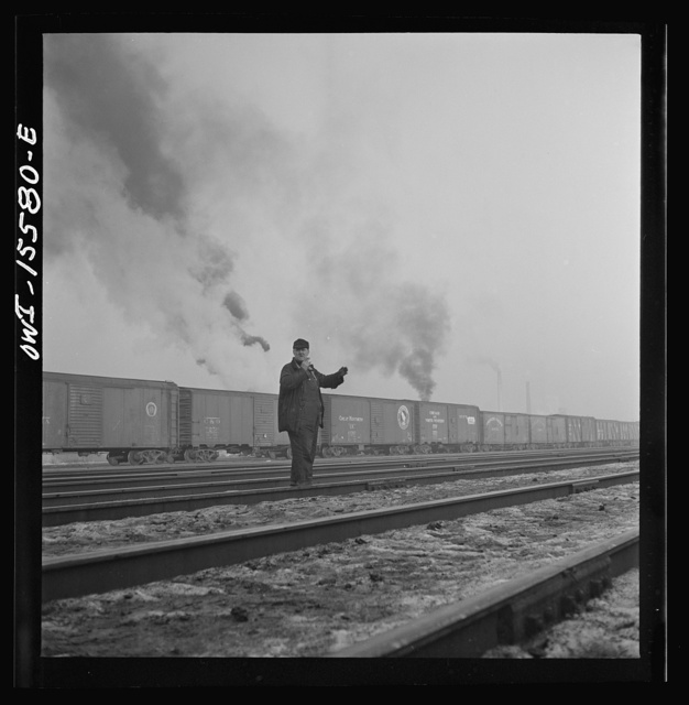 Calumet City, Illinois. Switchmen at Calumet City yard of the Indiana Harbor Belt Railroad