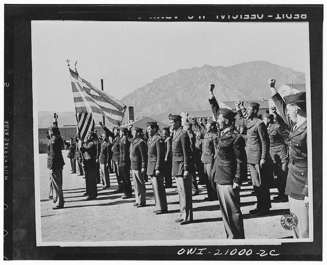 Camp Carson, Colorado. Greeks of the 122 Infantry battalion vow to avenge the invasion of their native land