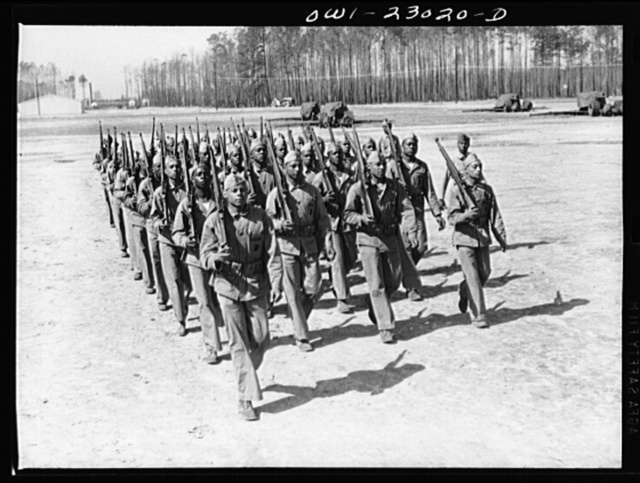 "Camp Lejeune, New River, North Carolina. ""Boots"" (new recruits) learning to drill"