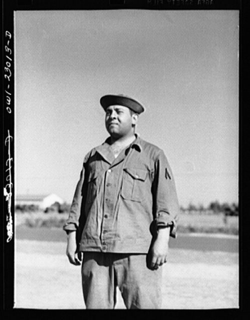 Camp Lejeune, New River, North Carolina. Marine Corps Negro enlistee in fatigue uniform