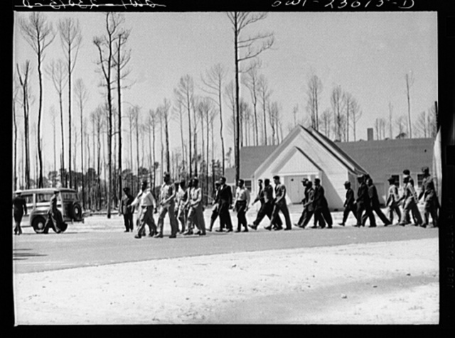 Camp Lejeune, New River, North Carolina. Scene and activities of the 51st Composite Battalion, U.S. Marine Corps. The building is the chapel in which both Catholics and Protestants worship