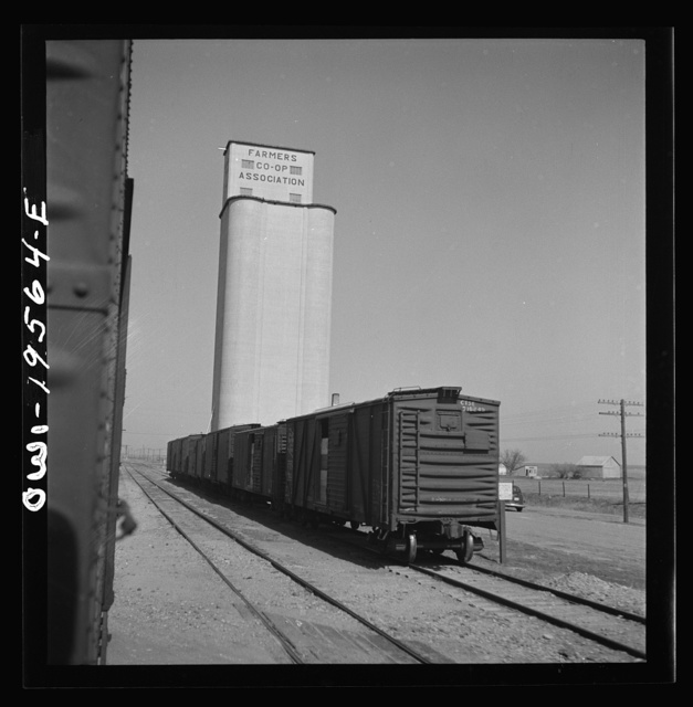 Capron, Oklahoma. A grain elevator along the Atchison, Topeka, and Santa Fe Railroad between Wellington, Kansas and Waynoka, Oklahoma