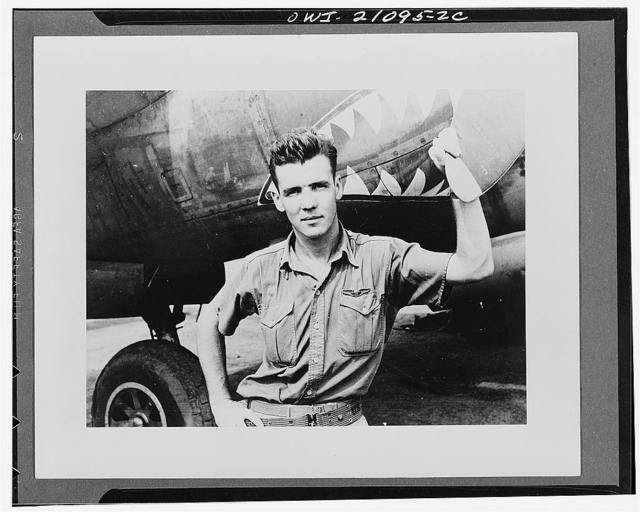 Captain Thomas J. Lynch, Catasauqua, Pennsylvania, holder of the high combat score for the United States Army Air forces fighter squadron which brought down 72 Janpaese planes in combat over New Guinea in 1943