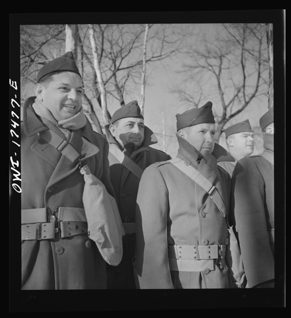 Carlisle, Pennsylvania. Demonstration before Army doctors and officer candidates at the U.S. Army medical field service school. Army doctors watching the demonstration in weather ten below zero