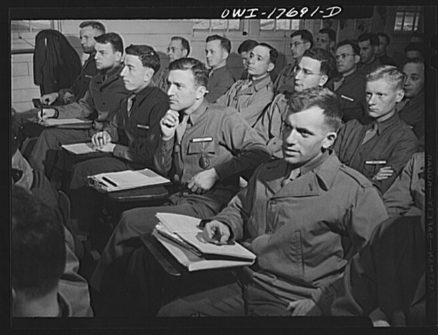 Carlisle, Pennsylvania. Medical field service school. Officer candidates listening to a lecture on how the Army works during their five-week course. They are learning to become medical administrative officers and will assume the administrative duties of the medical corps leaving the doctors free to practice medicine. In civilian life, these men may have been anything from pharmacists to lawyers