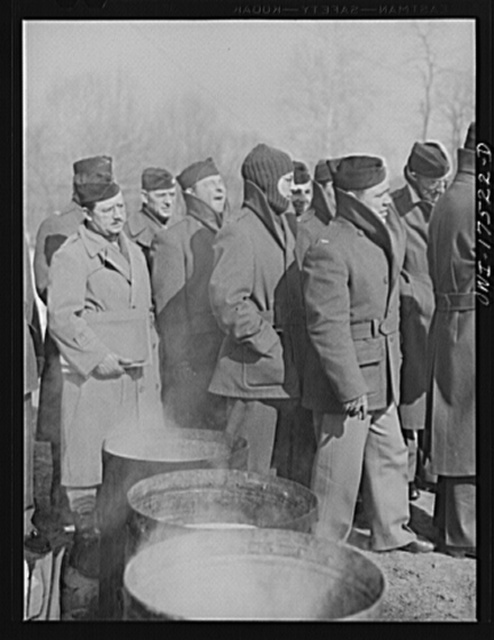 Carlisle, Pennsylvania. U.S. Army medical field service school. Army doctors listening to a lecture on various methods of constructing incinerators in the field. Various types of incinerators are constructed in what is called the sanitary area of the barracks