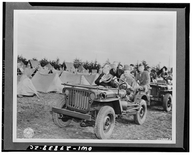 Casablanca, Morocco. President Roosevelt reviewing American troops from an Army jeep