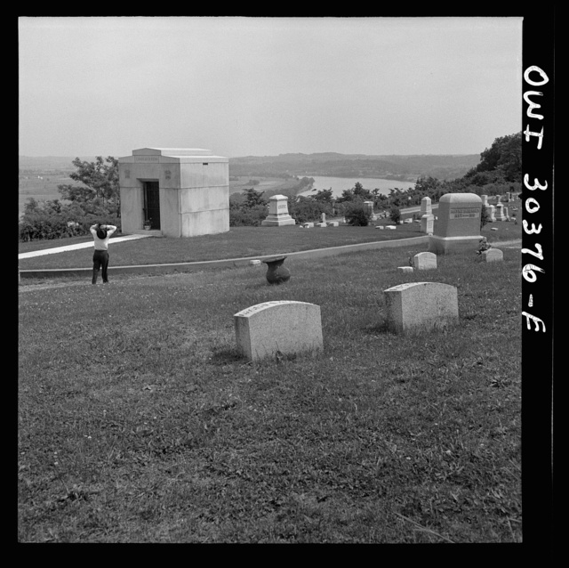 Cemetery on a hill overlooking Ohio River near Gallipolis