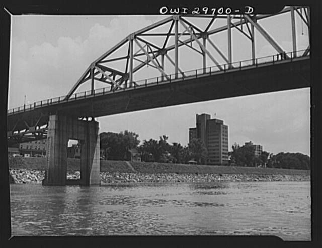 Charleston, West Virginia. A bridge with the Union Carbide building in the background