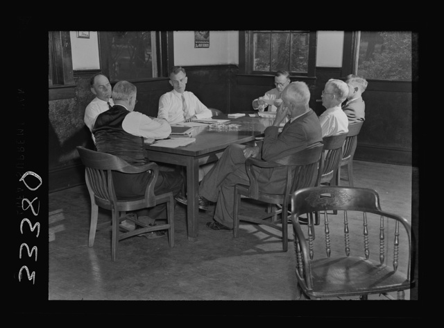 Charlotte County, Virginia. Meeting of county school board of education, of which all members are farmers, merchants, etc.--no college men